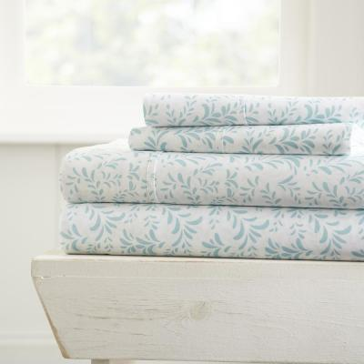 Home Collection 4-Piece Light Blue Floral Microfiber Full Sheet Set