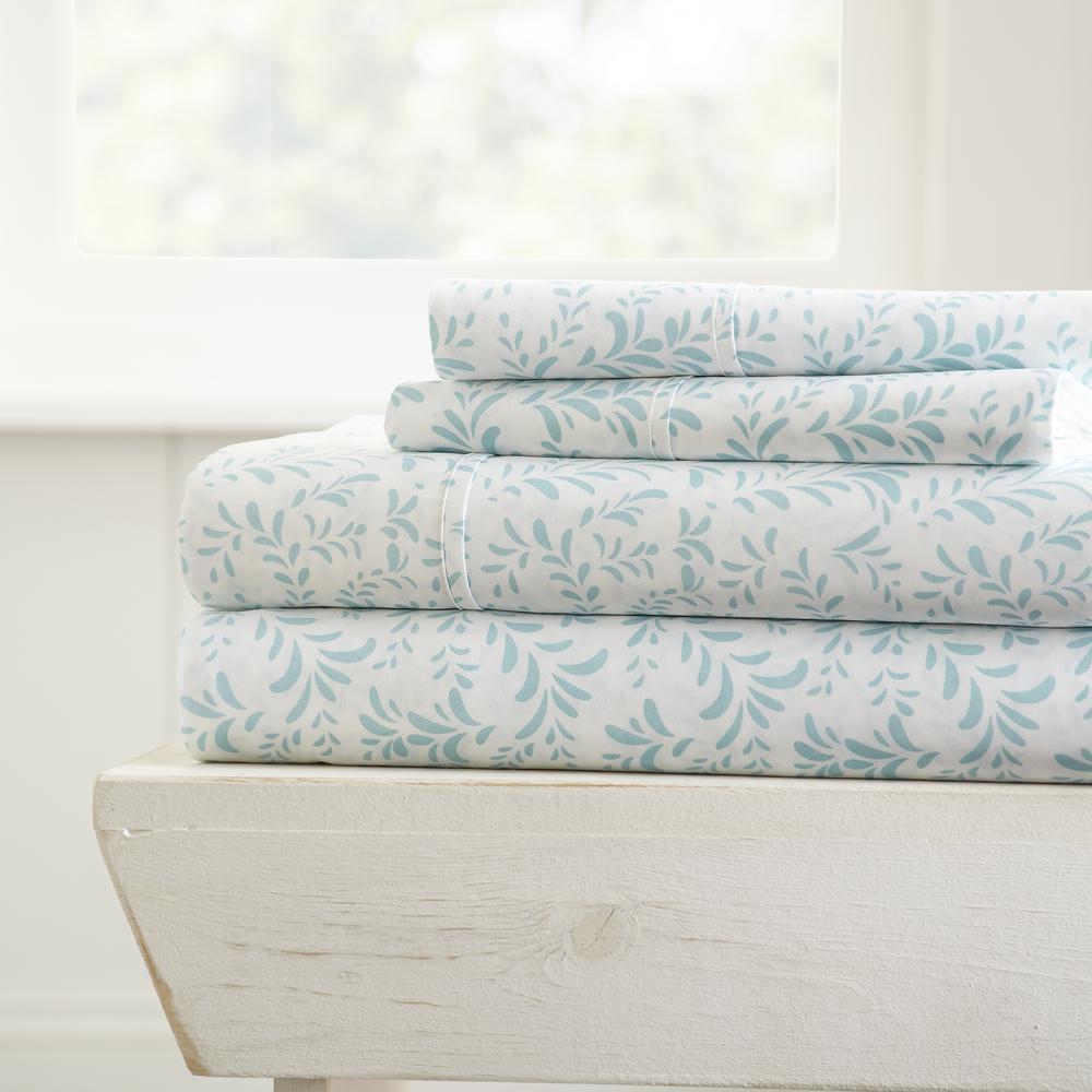 4-Piece Light Blue Floral Microfiber Queen Sheet Set