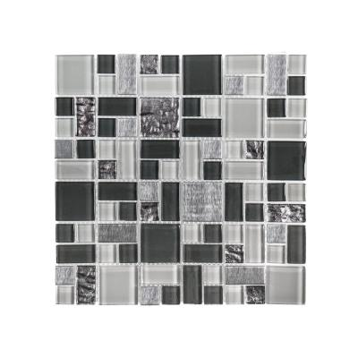 Satin Sapphire Gray 11.875 in. x 11.875 in. Square Mixed Glass and Metal Mosaic Tile (0.979 sq. ft./Each)