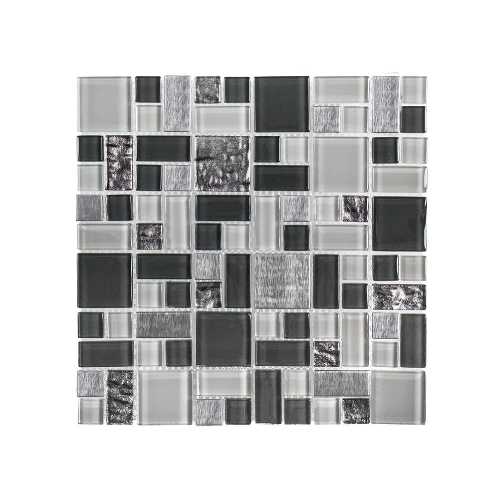 Jeffrey Court Satin Sapphire 11.875 in. x 11.875 in. x 8 mm Glass/Metal Mosaic Wall Tile
