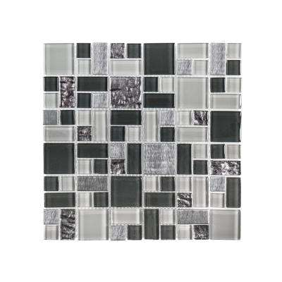 Satin Sapphire 11.875 in. x 11.875 in. x 8 mm Glass/Metal Mosaic Wall Tile