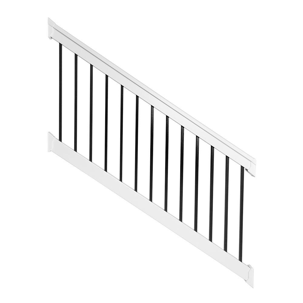 Weatherables vilano 36 in x 72 in vinyl white with square black aluminum spindles stair - Vinyl railing reviews ...