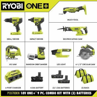 ONE+ 18V Cordless 9-Piece Combo Kit with (3) Batteries and 6-Port SUPERCHARGER