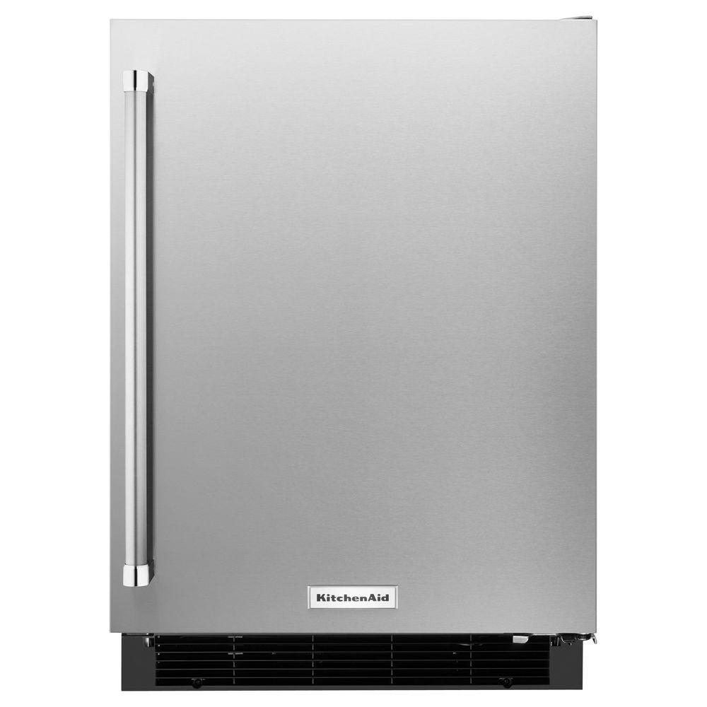 Kitchenaid 24 In W 5 1 Cu Ft Undercounter Refrigerator: KitchenAid 24 In. W 4.9 Cu. Ft. Undercounter Refrigerator In Stainless Steel-KURR104ESB