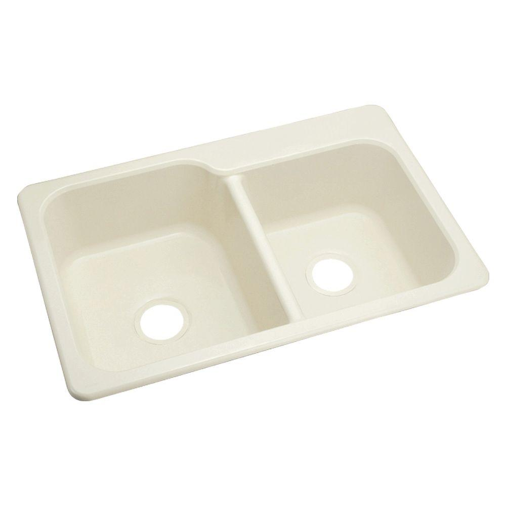 STERLING Maxeen Drop-In Vikrell 33x22x8-3/8 4-Hole Single Basin Kitchen Sink in Biscuit-DISCONTINUED