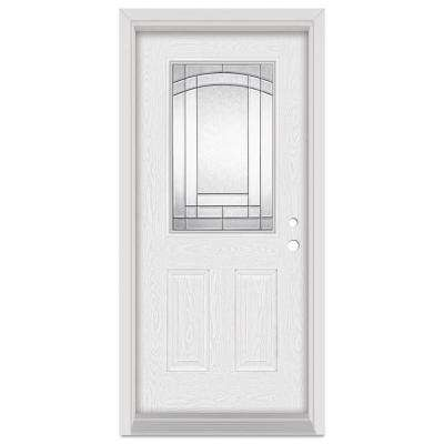 32 in. x 80 in. Chatham Left-Hand 1/2 Lite Patina Finished Fiberglass Oak Woodgrain Prehung Front Door Brickmould
