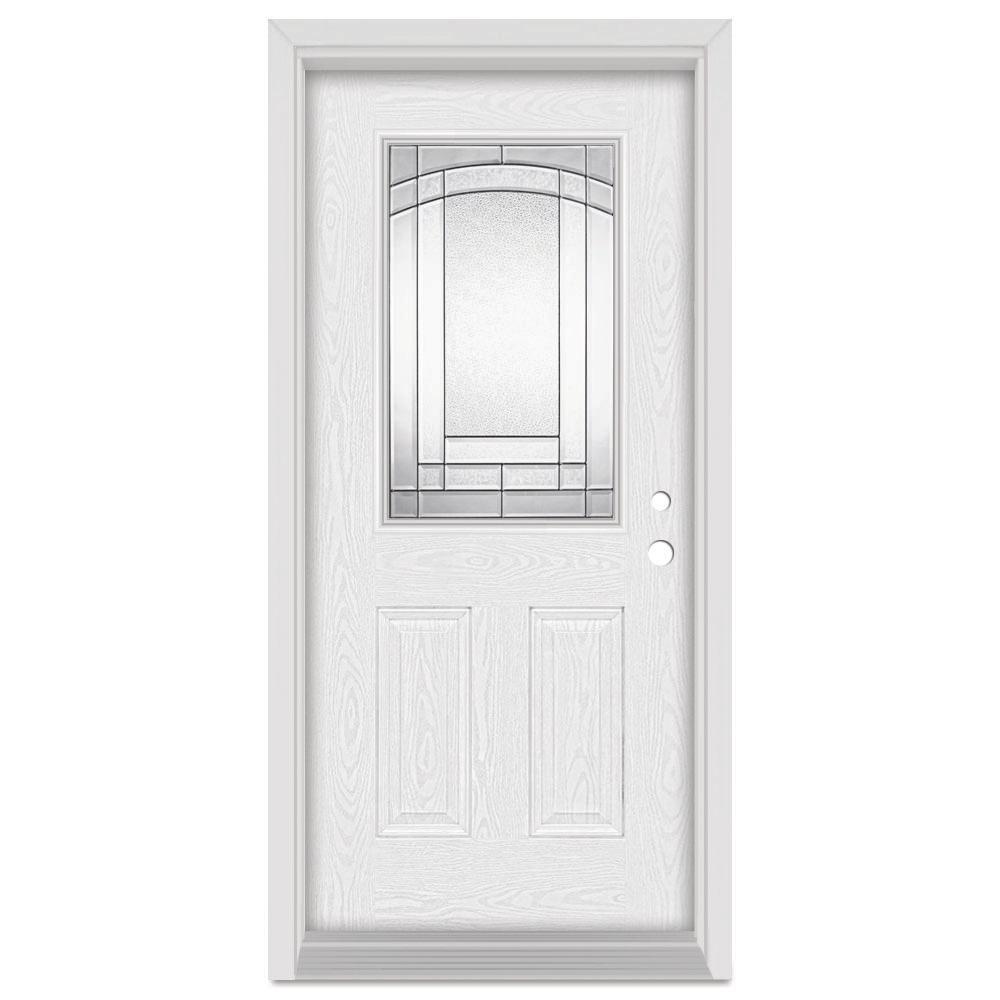 32 in. x 80 in. Chatham Left-Hand 1/2 Lite Patina Finished Fiberglass Oak Woodgrain Prehung Front Door Brickmould