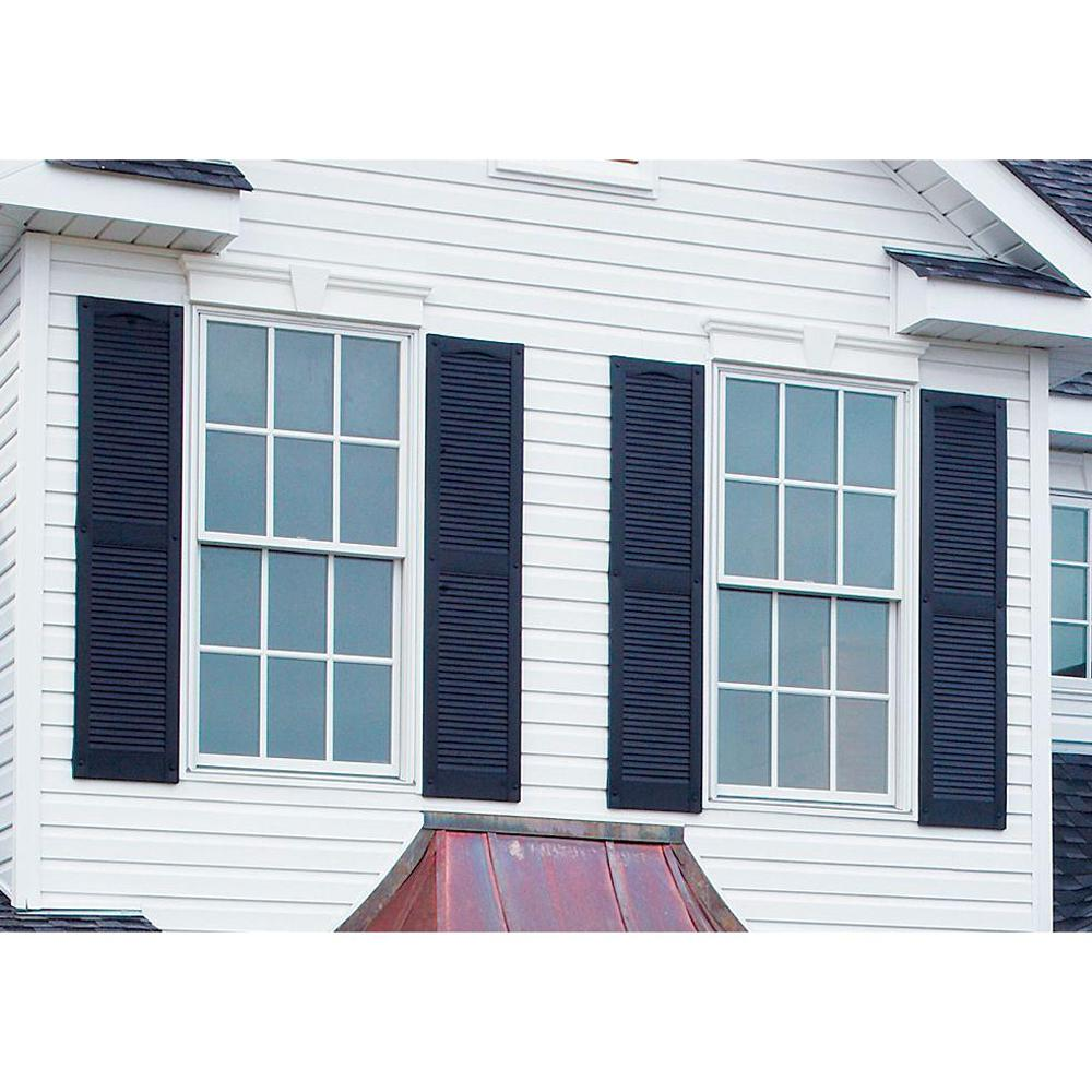 Louvered vinyl exterior shutters outdoor window decor pair set black 15 x 55 ebay for Exterior louvered window shutters