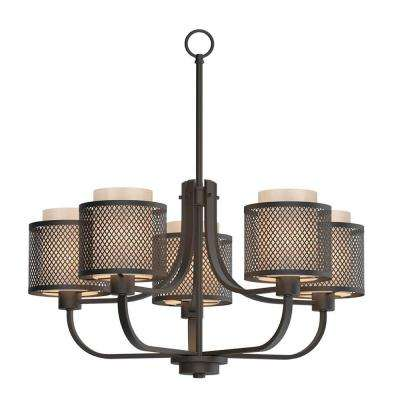 5-Light Bronze Mesh Chandelier with Inner Cream Fabric Shade