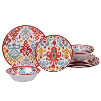 Bali 12-Piece Traditional Multi-colored Melamine Outdoor Dinnerware Set (Service for 4)