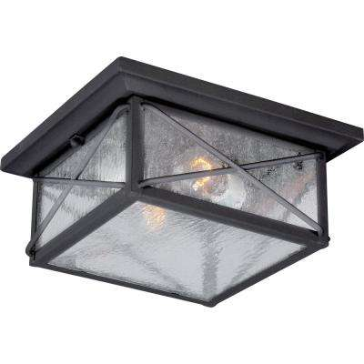 Kylee Textured Black 2-Light Outdoor Flush Mount
