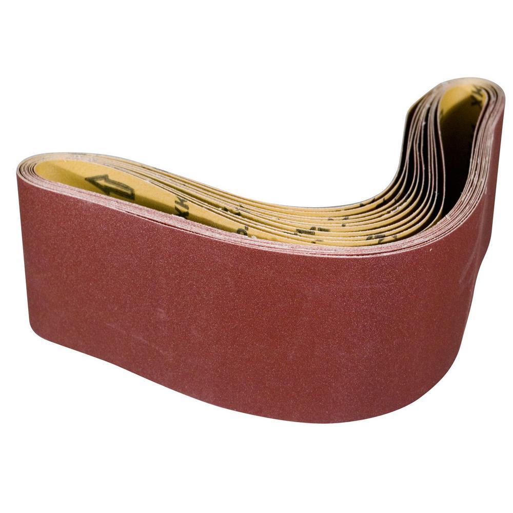 POWERTEC 4 in. x 36 in. 40-Grit Aluminum Oxide Sanding Belt (10 ...