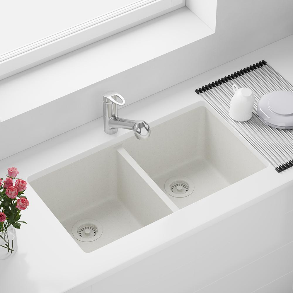 Mr Direct Undermount Granite Composite 32 1 2 In 50 50 Double Bowl Kitchen Sink Kit In White 802 W Rg The Home Depot