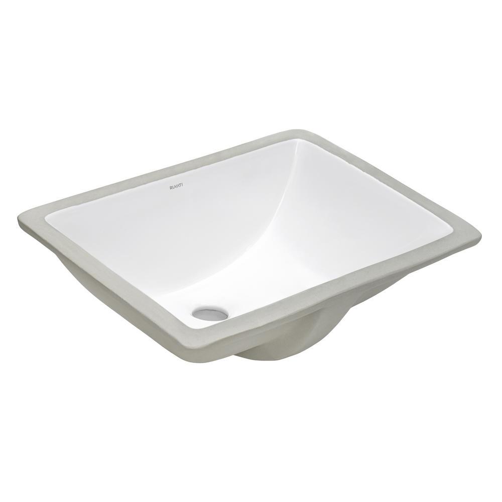 17 in. Rectangular Undermount Vanity Bathroom Porcelain Ceramic with Overflow in White