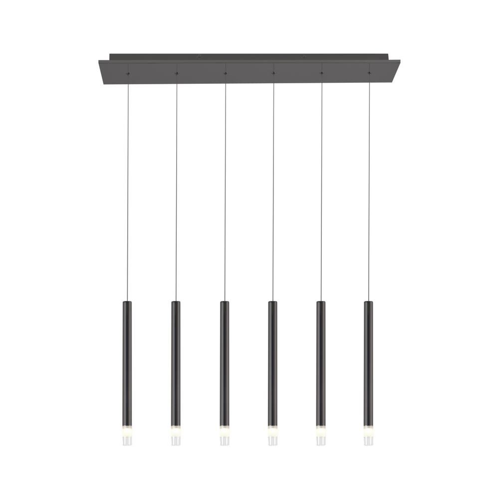 Lume 14-Watt Grey Integrated LED 6-Light Pendant Fixture