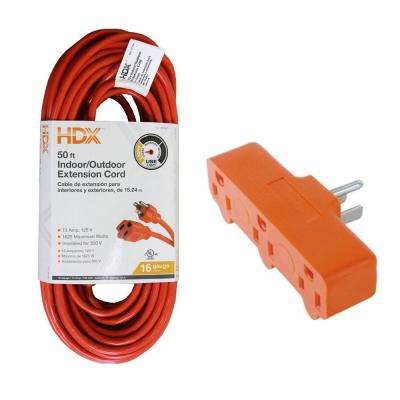 50 ft. 16/3 Light-Duty Indoor/Outdoor Extension Cord and 15 Amp Heavy Duty Triplex Outlet, Orange