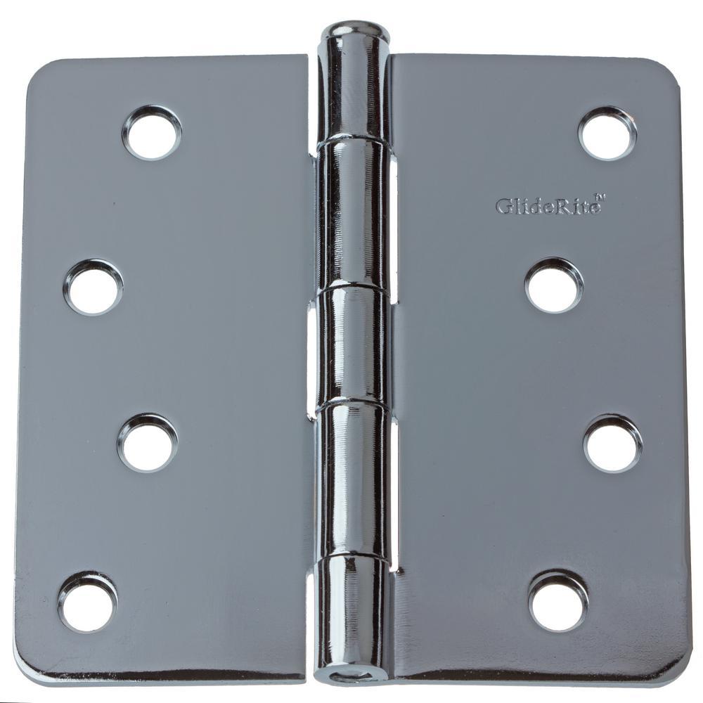 4 in. Polished Chrome Steel Door Hinge 1/4 in. Corner Radius with Screws (12-Pack)