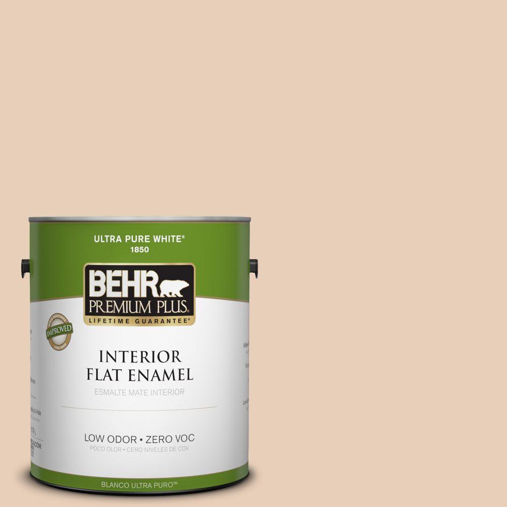 BEHR Premium Plus 1-gal. #ECC-16-1 Floral Bluff Zero VOC Flat Enamel Interior Paint-DISCONTINUED