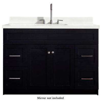 Hamlet 49 in. Bath Vanity in Black with Quartz Vanity Top in White with White Basin