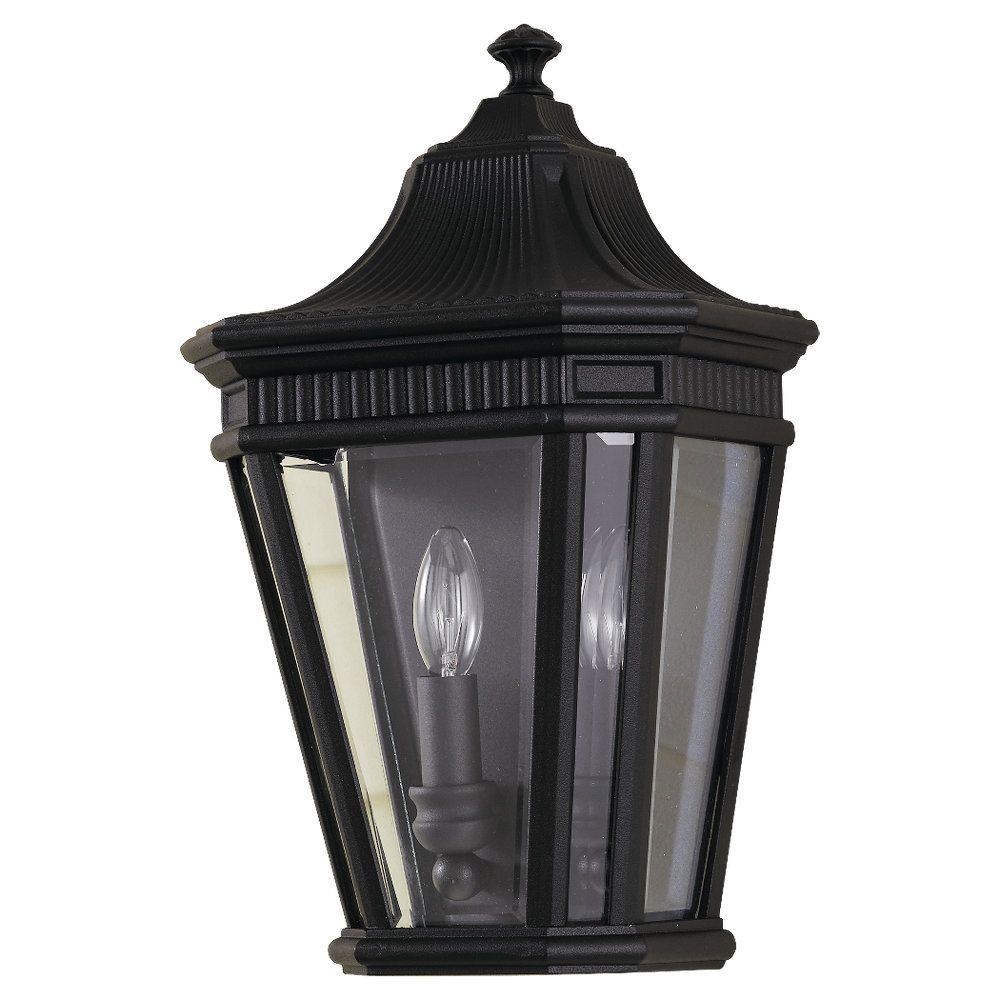 Cotswold Lane 2-Light Black Outdoor 16 in. Wall Lantern Sconce