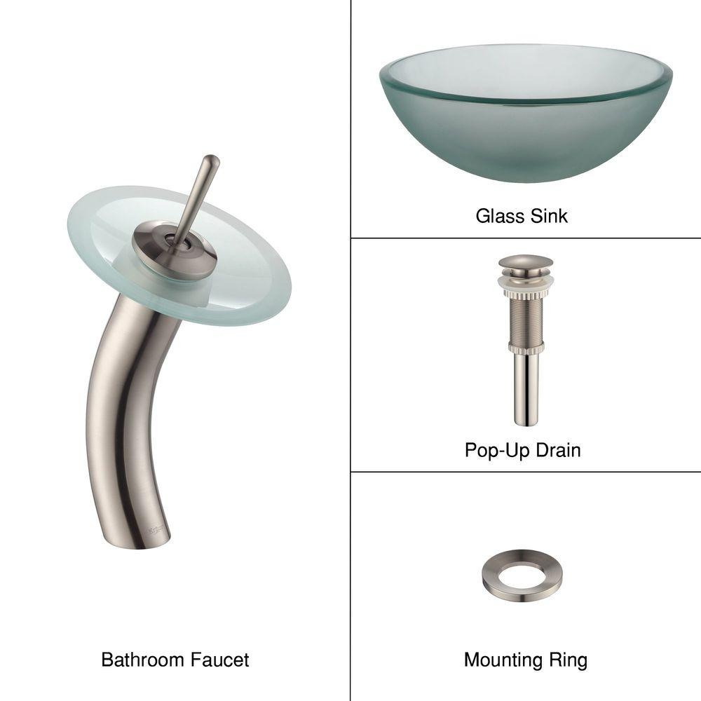 KRAUS Frosted Glass Vessel Sink in Clear with Single Hole Single-Handle Low-Arc Waterfall Faucet in Satin Nickel