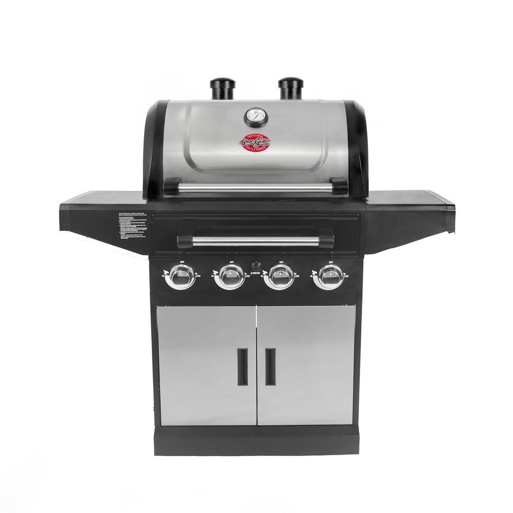 Char-Griller Flavor Pro 4-Burner Gas Grill with Multi-Fuel Flavor Drawer