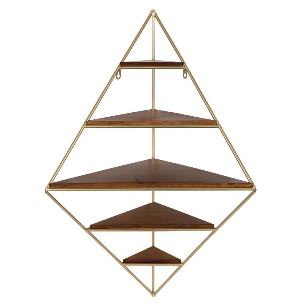 Melora 16 in. x 22 in. x 36 in. Gold Wood Decorative Wall Shelf