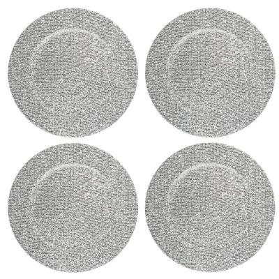 Home Essentials & Beyond 13 in. 4-Piece Glitter Silver Plate Charger Set