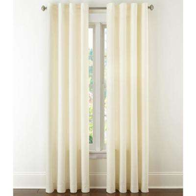 Cream 100% Linen Drapery Light Filtering Soft Texture Curtain - 50 in. W x 96 in. L (2-Pair)