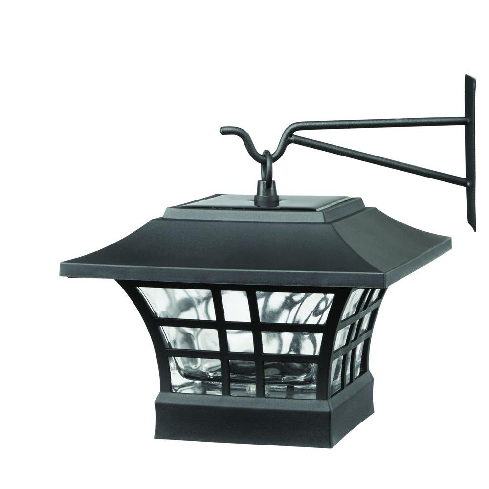 Delightful Solar Black LED Deck Post With Plastic Cage And Glass Lens (2 Pack)