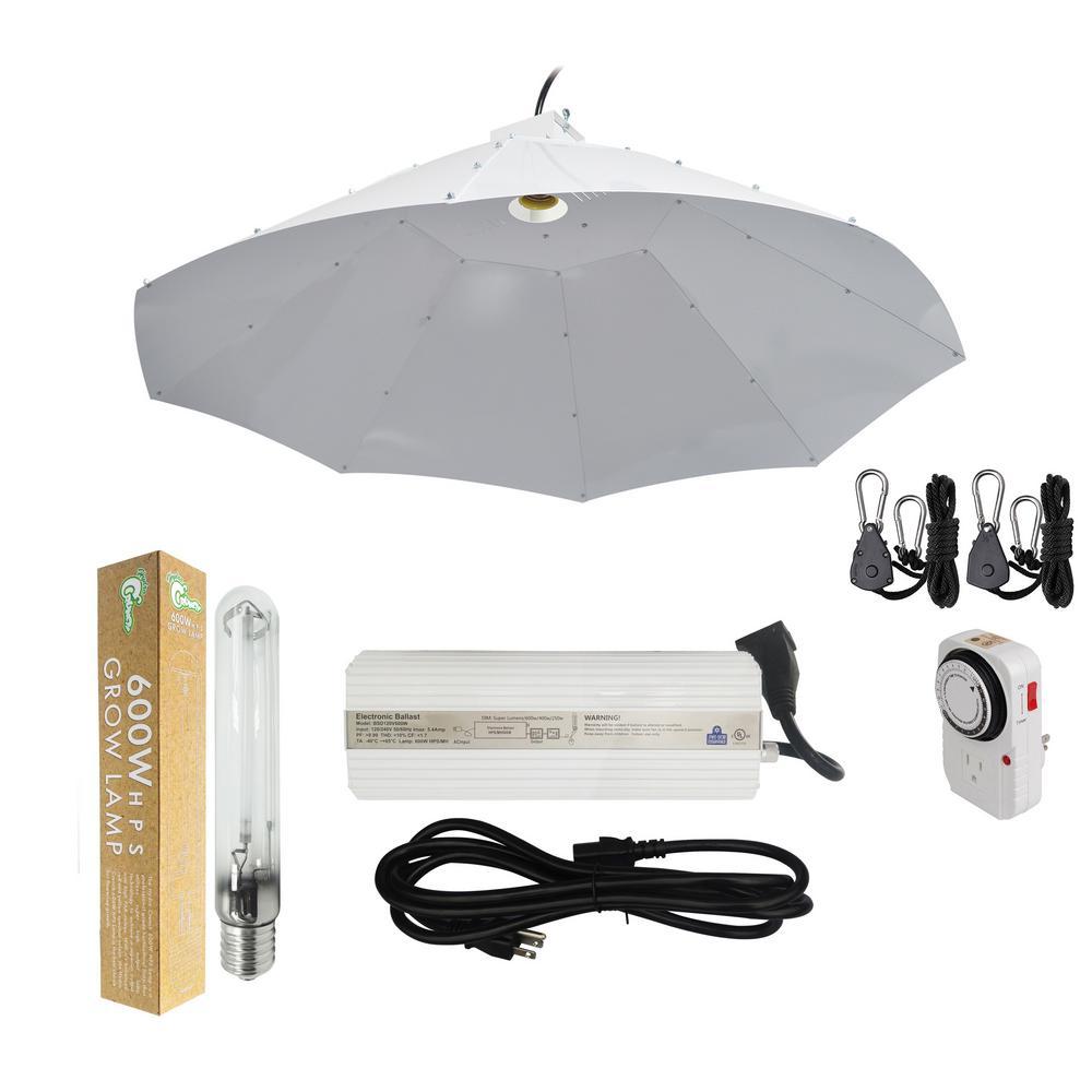 600-Watt HPS Grow Light System with 42 in. Parabolic Vertical Umbrella Hood Reflector