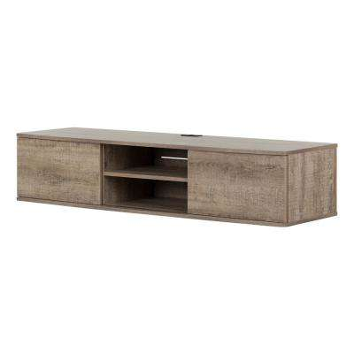 Agora Weathered Oak 56 in. Wide Wall Mounted Media Console