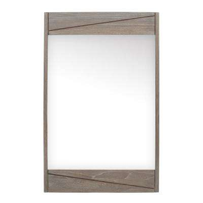Teak 24 in. W x 38 in. H Single Framed Wall Mirror in Gray Teak