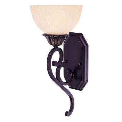 1-Light Distressed Bronze Sconce with Pompei Glass