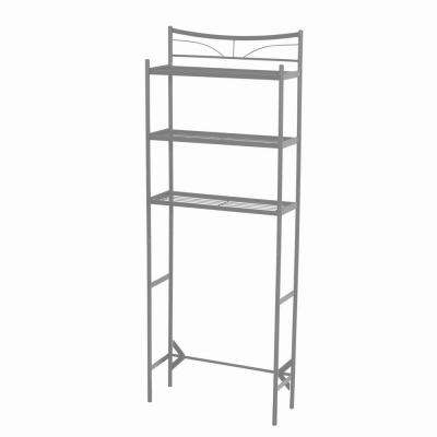 Hawthorne 24-1/2 in. W x 65 in. H x 9-1/2 in. D Metal 3-Shelf Over the Toilet Storage Space Saver in Satin Nickel