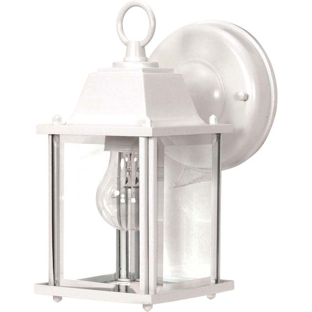 Glomar 1-Light Outdoor White Wall Lantern Cube Lantern with Clear Beveled Glass