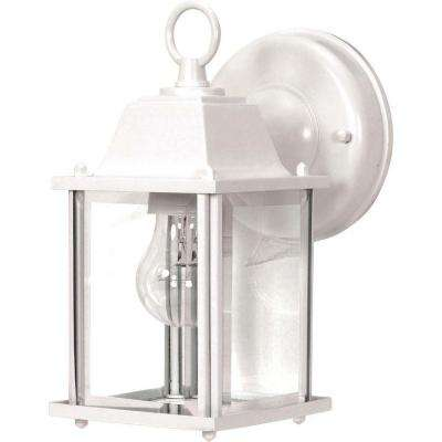 1-Light Outdoor White Wall Lantern Cube Lantern with Clear Beveled Glass