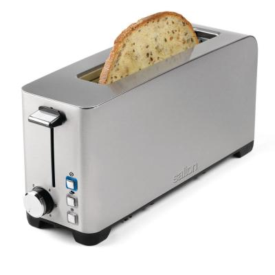 Space-Saving 2-Slice Stainless Steel Long Slot Toaster