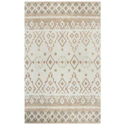 Opulent Beige and Tan Geometric Hand Tufted Wool 8 ft. x 10 ft. Area Rug