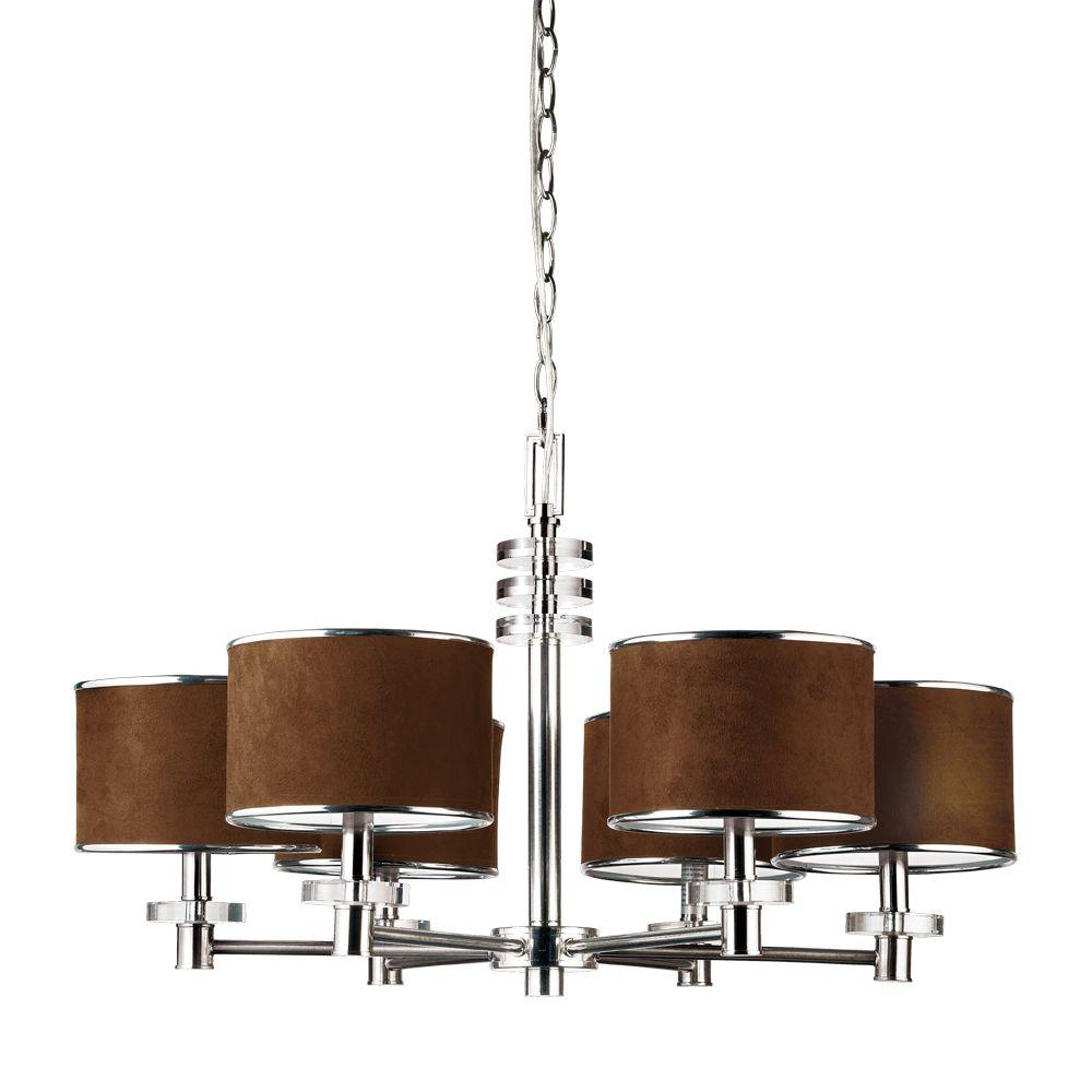 Eurofase Savvy Collection 6-Light Satin Nickel and Brown Chandelier