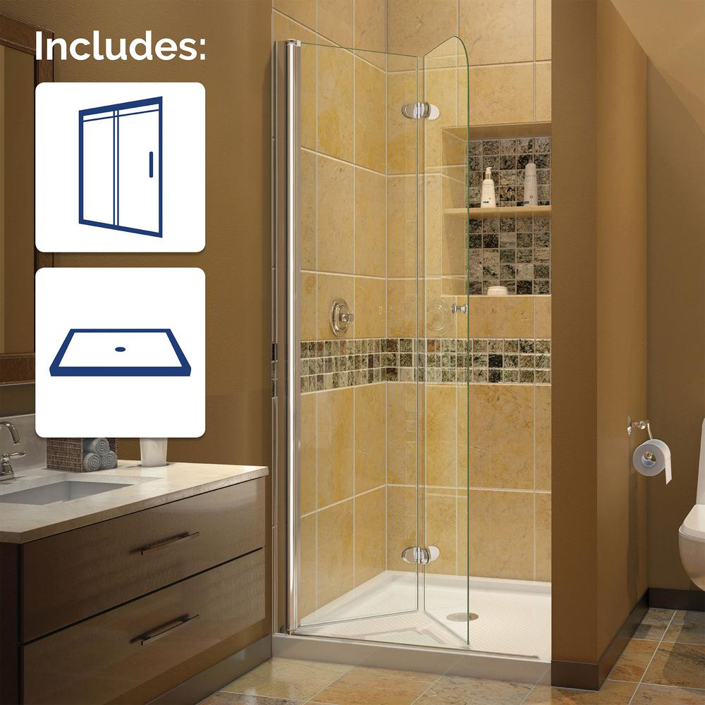 Dreamline aqua fold 32 in x in frameless hinged for European bathroom stalls