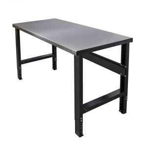 28 in. x 60 in. Heavy-Duty Adjustable Height Workbench with Stainless Steel Top