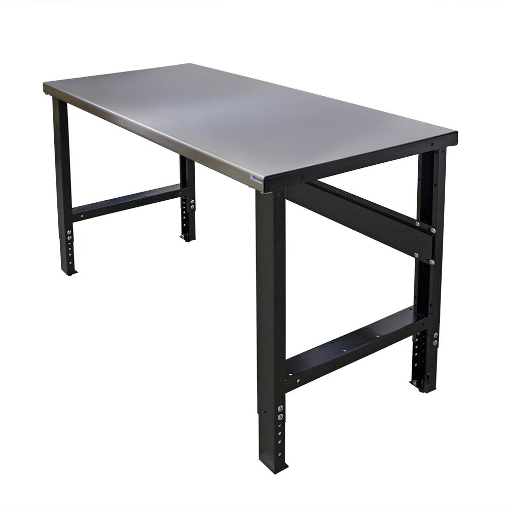 28 in. x 60 in. Heavy-Duty Adjustable Height Workbench with Stainless