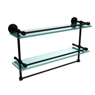 Dottingham 22 in. L  x 12 in. H  x 5 in. W 2-Tier Gallery Clear Glass Bathroom Shelf with Towel Bar in Matte Black
