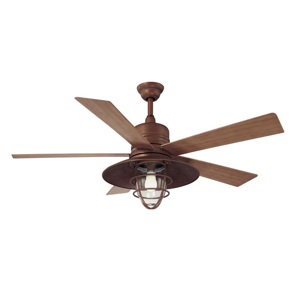 Hampton Bay Metro 54 in. Indoor/Outdoor Rustic Copper Ceiling Fan with Light Kit and Remote Control