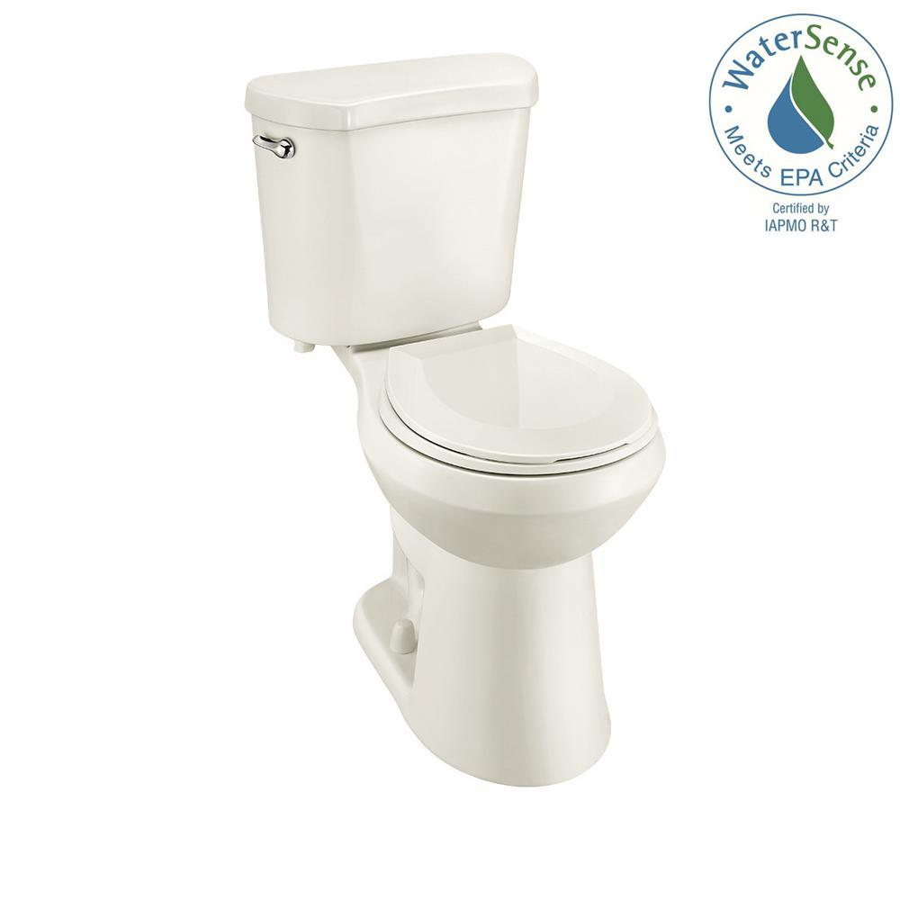 2-piece 1.28 GPF High Efficiency Single Flush Round Toilet in Biscuit