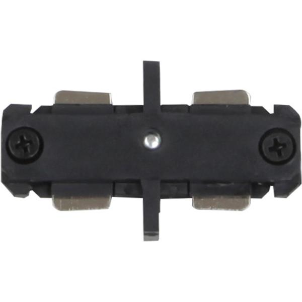 Black Mini Joiner/Mini Straight Connector for 120-Volt 2-Circuit/1-Neutral Track Systems
