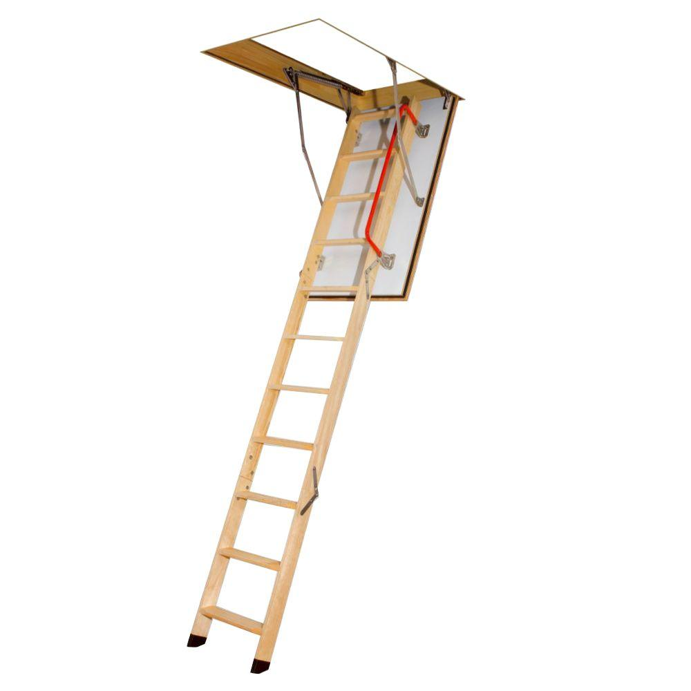 Fakro 8 ft. 11 in., 47 in. x 22-1/2 in. Fire Rated Wood Attic Ladder with 300 lb. Load Capacity Type IA Duty Rating