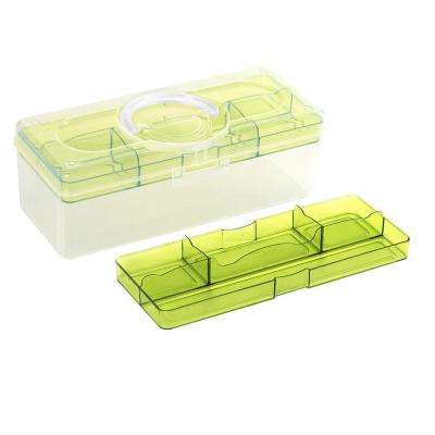 12.6 in. x 5.3 in. Hobby and Crafts Portable Storage Box with Removable Top Organizer Tray in Green (20-Pack)