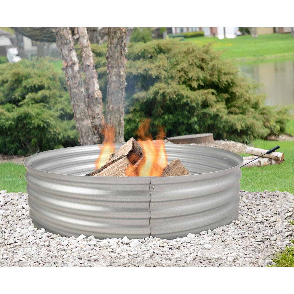 Pleasant Hearth Infinity 36 In X 13 In Round Galvanized Steel Wood Fire Ring Ofw815fr The Home Depot